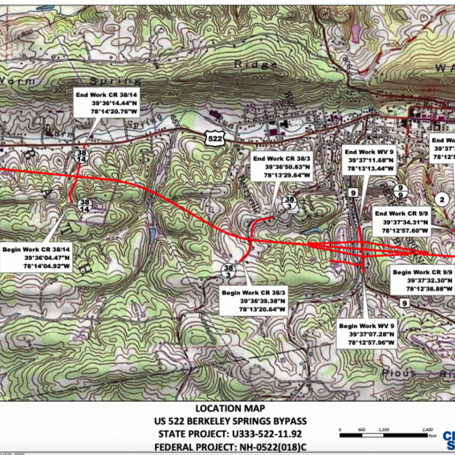 An overview map of the proposed U.S. 522 Bypass is included in bid documents. The project is now open for contractor bidding.