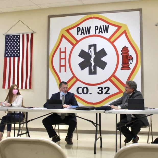 Morgan County Commissioners met at Paw Paw Fire Hall on April 8 for a monthly meeting. Pictured, from left, are County Administrator Stefanie Allemong, Commission Secretary Anna Padilla, Commission President Joel Tuttle and Commissioner Bill Clark.