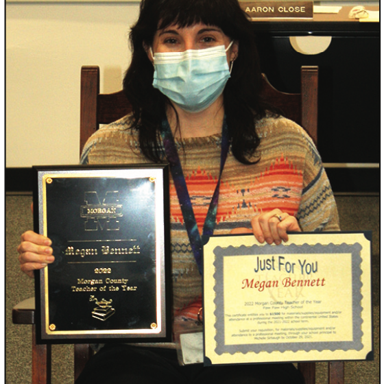 Megan Bennett, Paw Paw High School science teacher, was named Morgan County Teacher of the Year. The Morgan County Teacher of the Year receives $1,500 for materials, supplies and equipment and/or attendance at a professional development conference. They also receive a rocking chair from Caperton Furniture Works.